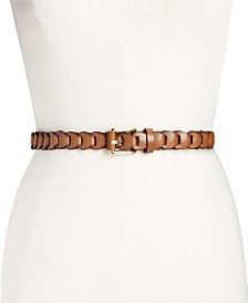 Michael Kors Braided Leather Skinny Belt