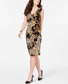 Thalia Sodi Printed O-Ring Sheath Dress, Created for Macy's