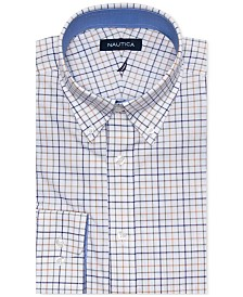 Nautica Men's Classic/Regular Fit Stretch Large Tattersall Dress Shirt