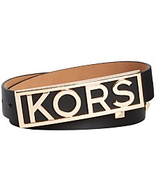 Michael Kors Logo Buckle Leather Belt
