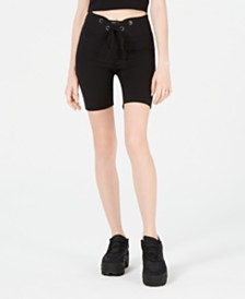 Material Girl Juniors' Grommet-Trimmed Tie-Front Biker Shorts, Created for Macy's