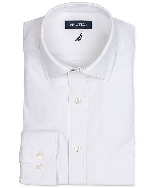 Nautica Men's Classic/Regular Fit Non-Iron Performance Stretch Solid Dress Shirt