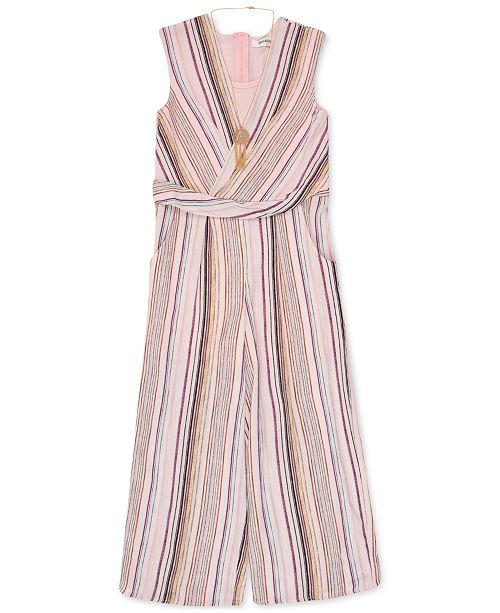 Speechless Big Girls Cropped Striped Jumpsuit