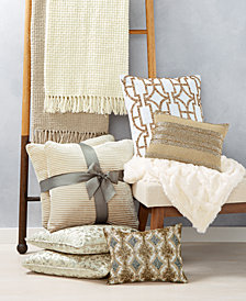 CLOSEOUT!  Lacourte White and Gold Decorative Pillow and Throw Collection