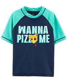 Little Boys Pizza Me Graphic Rash Guard