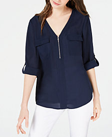 BCX Juniors' Roll-Sleeved Half-Zip Blouse