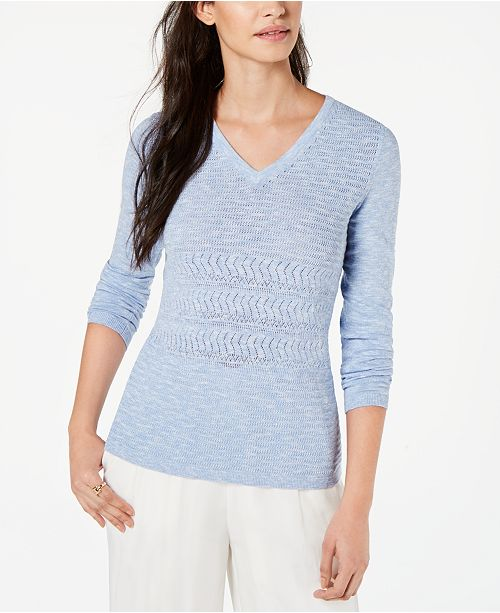 Tommy Hilfiger Cotton Pointelle Sweater, Created for Macy's