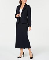 76fa8053684 Le Suit Two-Button Glazed Melange Skirt Suit