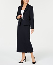Le Suit Two-Button Glazed Melange Skirt Suit