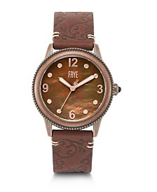 Frye Ladies' Sabrina Filigree Embossed Leather Strap in Red Burnt Red