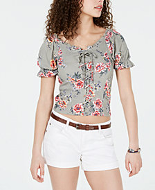 Crave Fame Juniors' Printed Lace-Up Corset Top