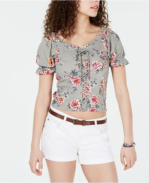 Almost Famous Crave Fame Juniors' Printed Lace-Up Corset Top
