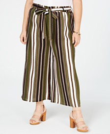 Planet Gold Trendy Plus Size Cropped Wide-Leg Soft Pants