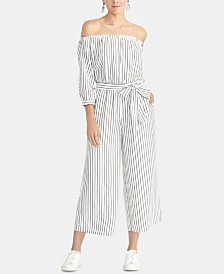 RACHEL Rachel Roy Striped Off-The-Shoulder Jumpsuit