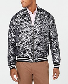 Men's Slim-Fit Leopard-Print Jacquard Bomber Jacket