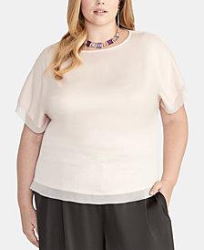 RACHEL Rachel Roy Plus Size Mixed-Media Top