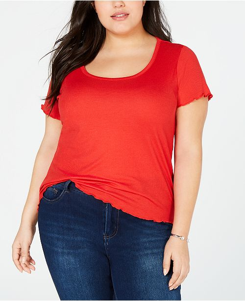 Planet Gold Trendy Plus Size Ribbed-Knit Top