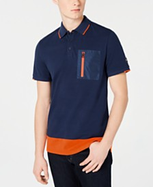 Calvin Klein Men's Athleisure Regular-Fit Colorblocked Mix-Media Polo Shirt