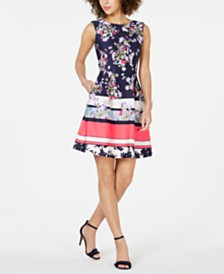 Taylor Petite Border Stripe Floral Dress