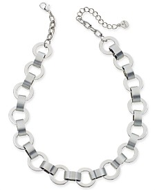"Alfani Silver-Tone Large Link Collar Necklace, 17"" + 2"" extender, Created for Macy's"