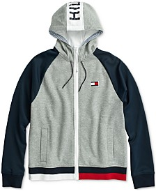 Tommy Hilfiger Adaptive Men's Logo Graphic Hoodie with Magnetic Zipper