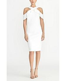Cold Shoulder Ruffle Halter Dress