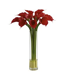 Nearly Natural Red Calla Lily w/ Large Cylinder Vase