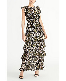 RACHEL Rachel Roy Printed Chiffon Maxi Dress
