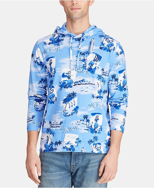 Polo Ralph Lauren Men's Tropical-Print Hooded Long-Sleeve T-Shirt