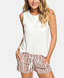 Roxy Juniors' Oceanside Cotton Striped Drawstring Shorts