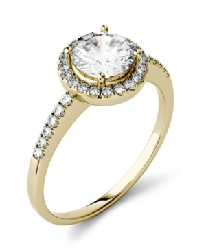 Moissanite Round Halo Ring (1-1/3 ct. t.w. Diamond Equivalent) in 14k Gold or White Gold -  Charles & Colvard