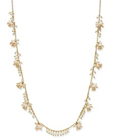 "I.N.C. Gold-Tone Bead & Flower Strand Necklace, 36"" + 3"" extender"
