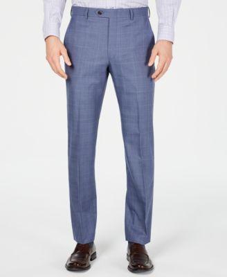 Men's Classic-Fit UltraFlex Stretch Light Blue Glen Plaid Suit Pants
