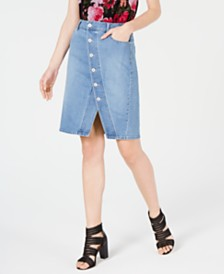I.N.C. Asymmetrical-Button Curvy Jean Skirt, Created for Macy's