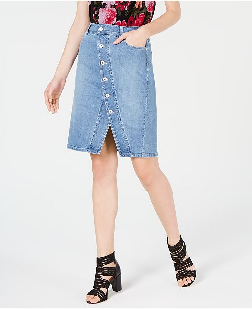 INC International Concepts I.N.C. Asymmetrical-Button Curvy Jean Skirt, Created for Macy's