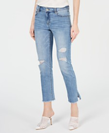 I.N.C. High-Cuff Straight-Leg Cropped Vented Jeans, Created for Macy's