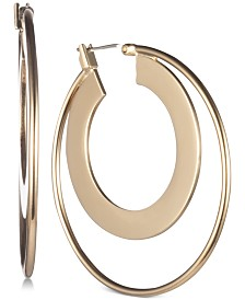 "DKNY Gold-Tone Double-Row Small 3/4"" Hoop Earrings, Created for Macy's"