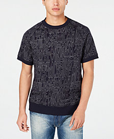 Sean John Men's Linear Print Short-Sleeve Sweatshirt