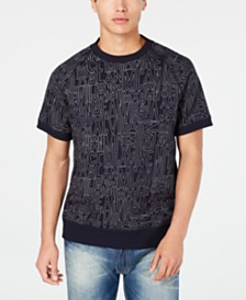 Sean John Men's Linear Print Short-Sleeve Sweatshirt