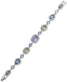 Givenchy Silver-Tone Multi-Crystal Flex Bracelet