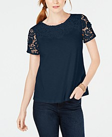 Cotton Lace-Embellished T-Shirt, Created for Macy's