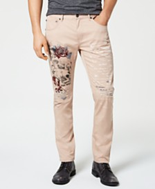 I.N.C. Men's Rip & Repair Graphic Jeans, Created for Macy's