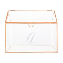 Personalized Rose Gold Wedding Glass Terrarium Reception Gift Card Holder