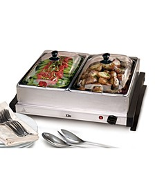 Elite Gourmet 2 x 2.5 Quart Stainless Steel Electric Buffet Server