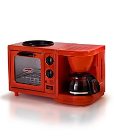 Americana by Elite 3 in 1 Mini Breakfast Shoppe - Coffee, Toaster Oven, Griddle
