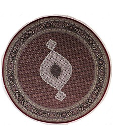 "Fine Indo Tabriz 628701 Red/Black 8'3"" Round Area Rug"