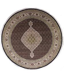 "BB Rugs Fine Indo Tabriz 628699 Black 8'4"" Round Area Rug"