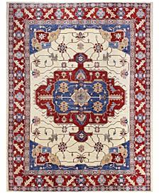 "Fine Afghan Kazak 595344 Ivory 7'4"" x 9'10"" Area Rug"