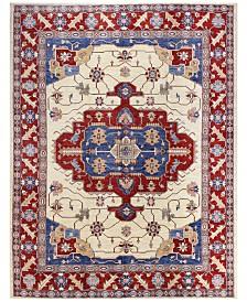 "BB Rugs Fine Afghan Kazak 595344 Ivory 7'4"" x 9'10"" Area Rug"