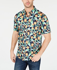 Club Room Men's Palaki Floral Graphic Shirt, Created for Macy's